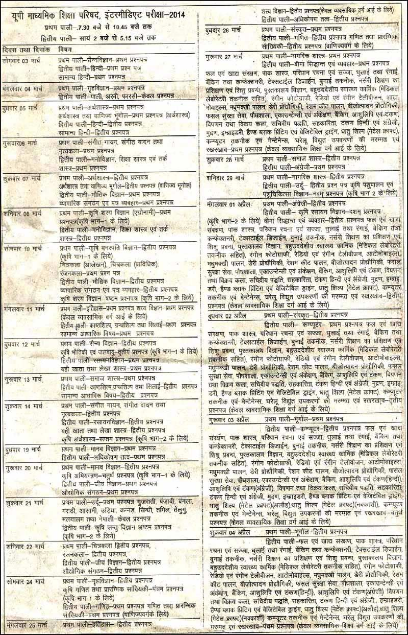 UP Board 10th/12th Class Exam Time Table Download Here
