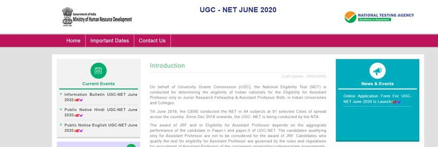 Registrations for UGC NET June 2020 have commenced